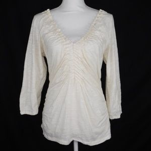 Anthropologie Tiny Cowl Neck Lace Top Large Size